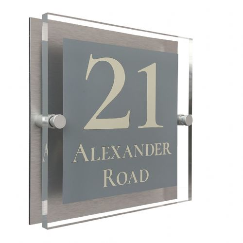 Block Shape - Clear Acrylic House Sign - Mid Grey Colour with Double Cream text in Font  2
